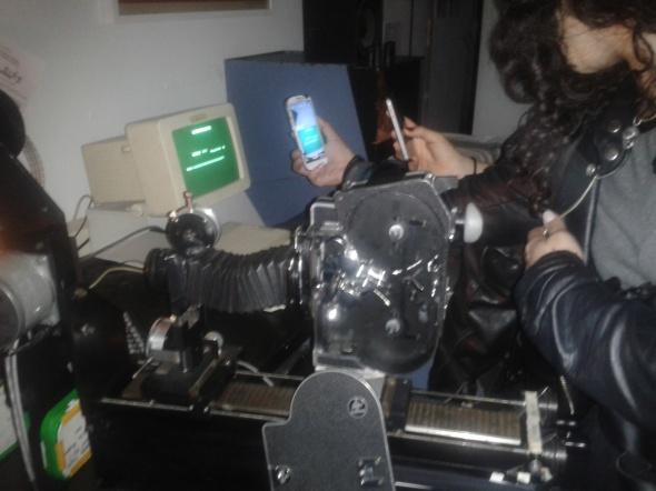 The JK optical printer, immortalised on phone cam.